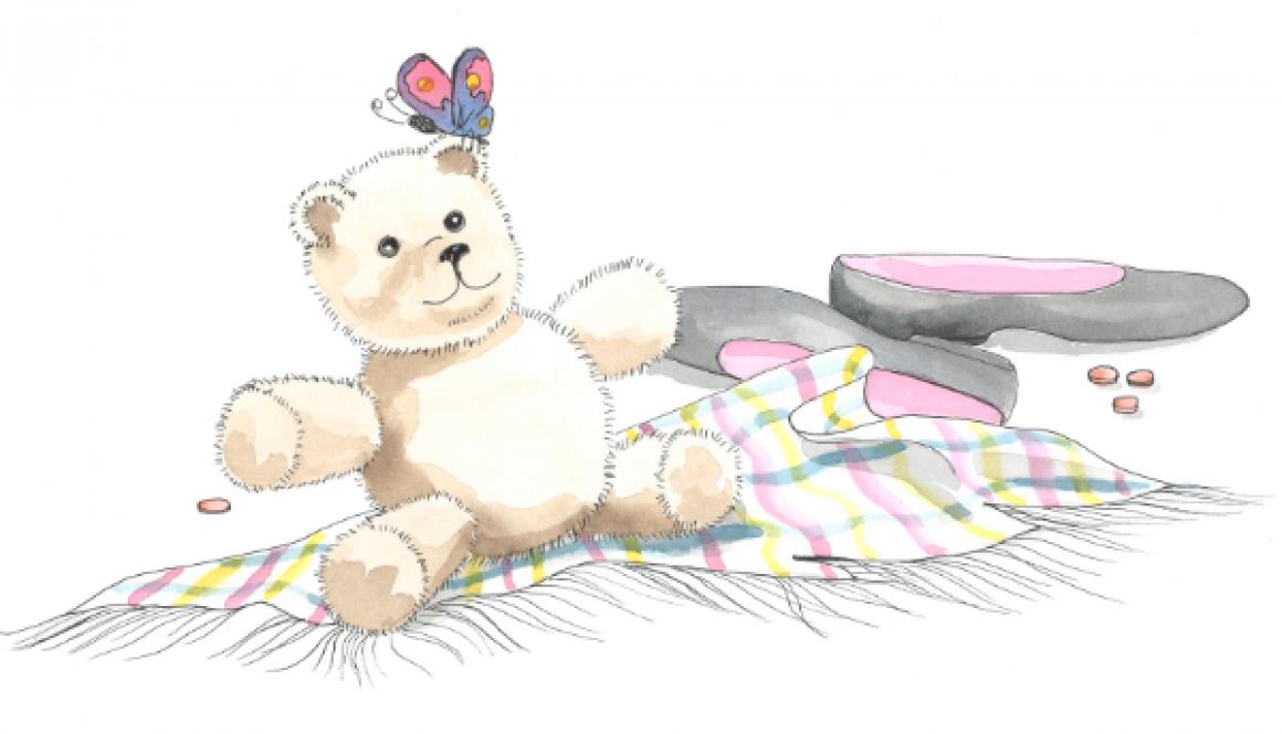 Teddy Bear, shoes, butterfly