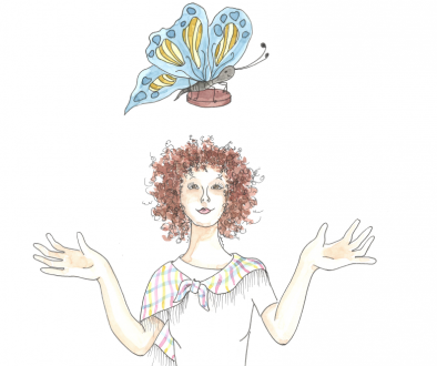 Illustration of girl with butterfly over her head