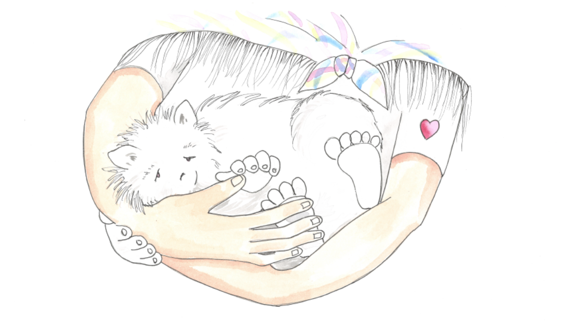 Illustration of small creature nestled in a girl's arms