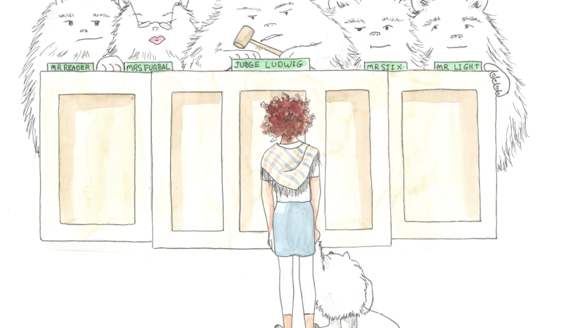 Illustration of girl standing in front of a bench of judges